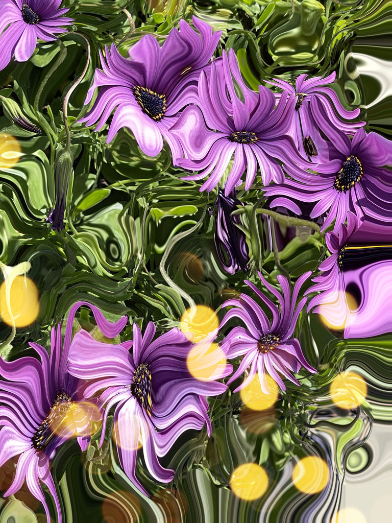 Abstract purple Flowers  by kathyboyles