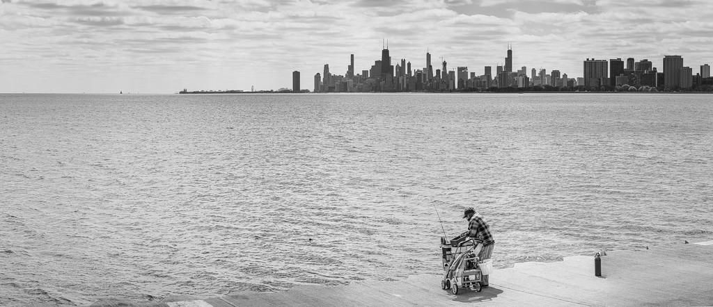 Fishing in Lake Michigan by jyokota