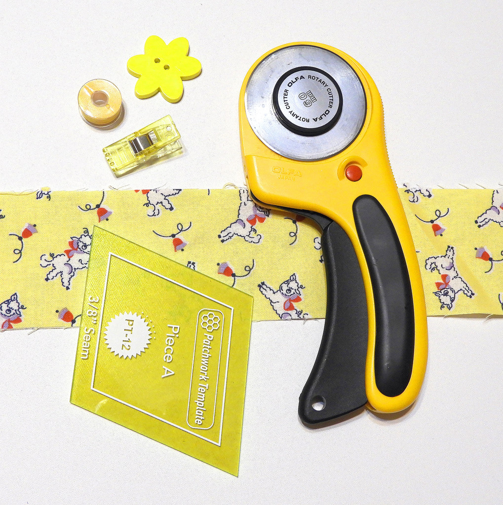 Yellow sewing flat lay by homeschoolmom