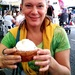 My daughter eating her Lemon Merangue Pie at the market