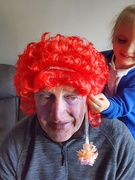 29th Apr 2021 - Had a lovely tea at my son's for hubby's birthday - but Abigail decided to plaster her grandad in make up!