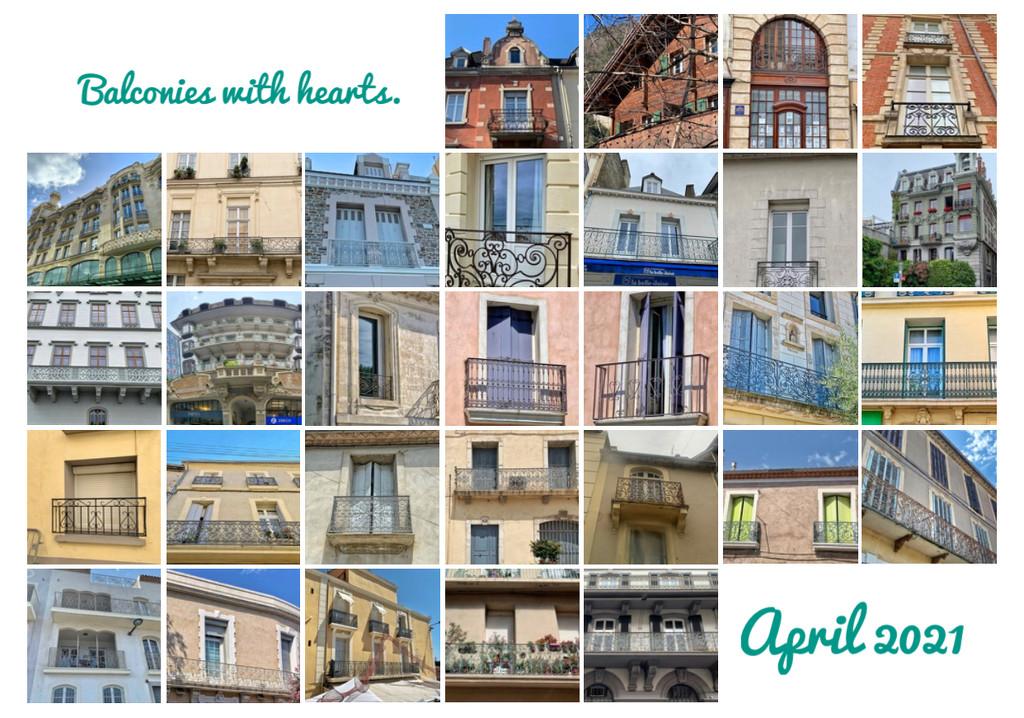 Balconies with hearts.  by cocobella
