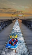 13th May 2021 - Rafting down Southport pier.  Playtime with Affinity Photo - my first attempt at a composite