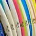 Charlie's surfboard choices