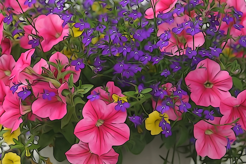 Wave Petunia basket with a Painterly look by radiogirl