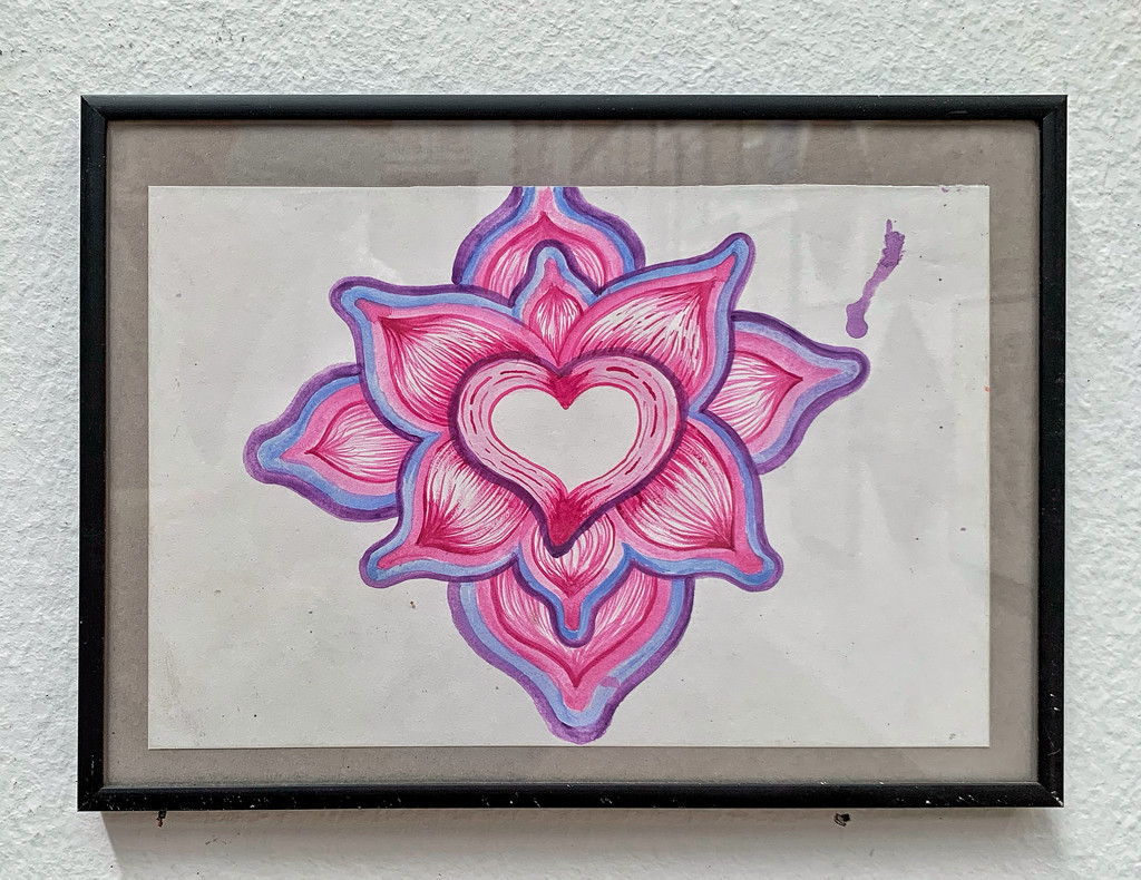 Pink heart flower.  by cocobella