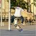 Along the front lots of kids skateboarding, BMXing, roller balding etc. Practising a fast shutter speed