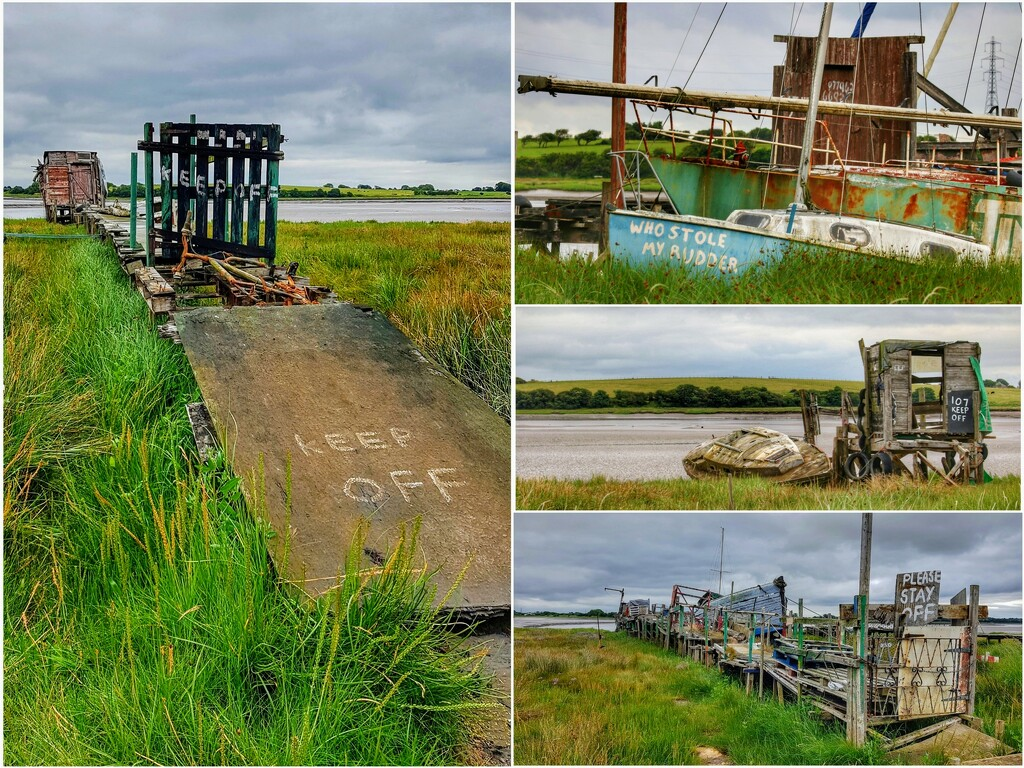 Some of the funny signs at Skippool Creek, the place to go to photograph derelict boats and piers!  by lyndamcg