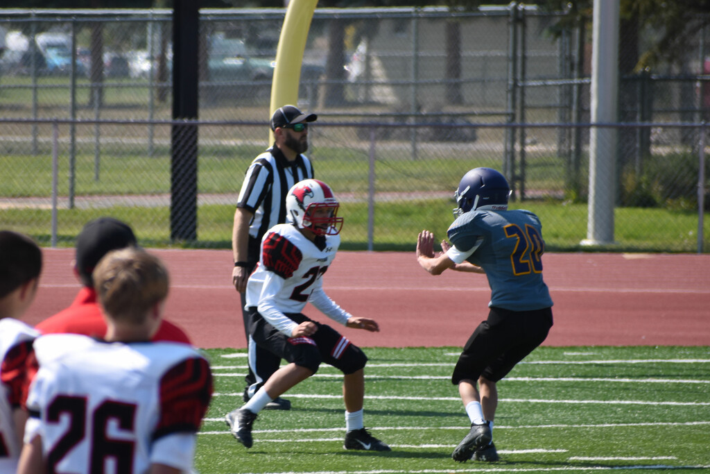 Wide Receiver Grandson Blocking His Opponent by bjywamer