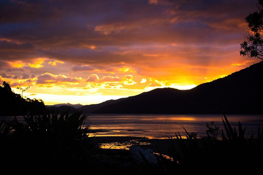 Sunset shining on the seashore by kiwinanna