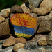 painted rock with tape