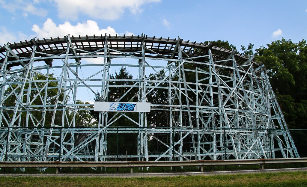 Older wooden roller coaster by mittens