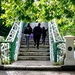 Crossing the footbridge