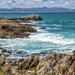 The rocky coastline
