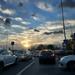 Sunset in traffic jams.